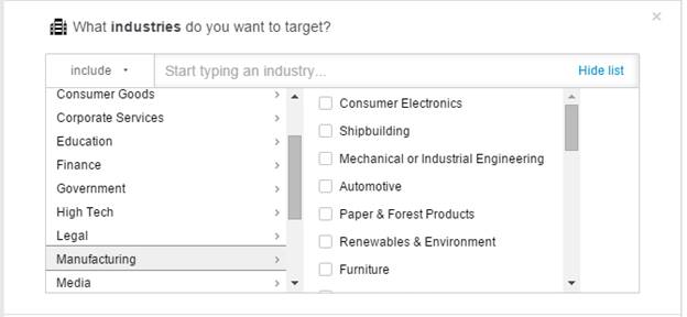 LinkedIn Targeting by Industries