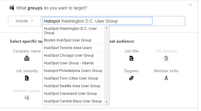LinkedIn Targeting by Group