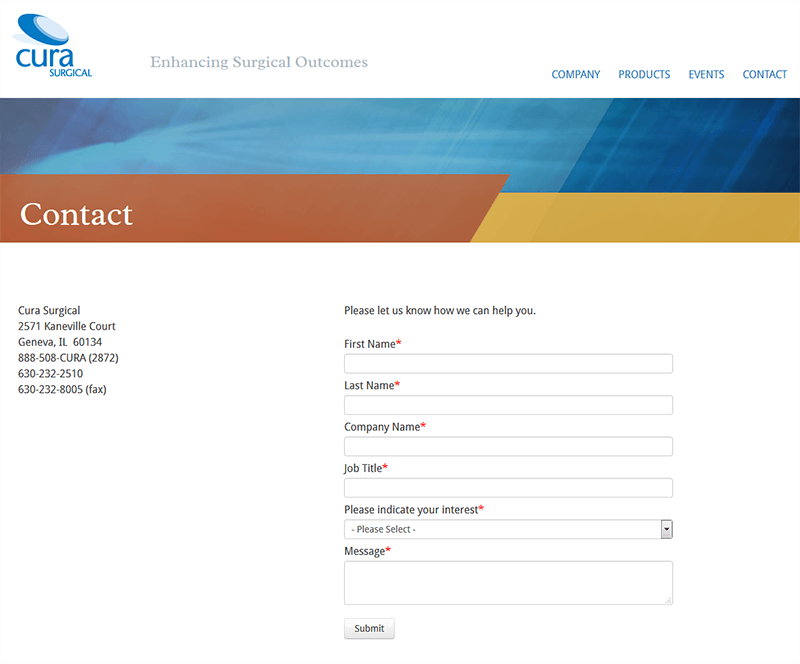 Screenshot of Cura Contact Page