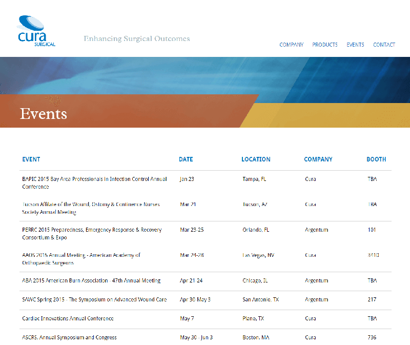Screenshot of Cura Events Screen