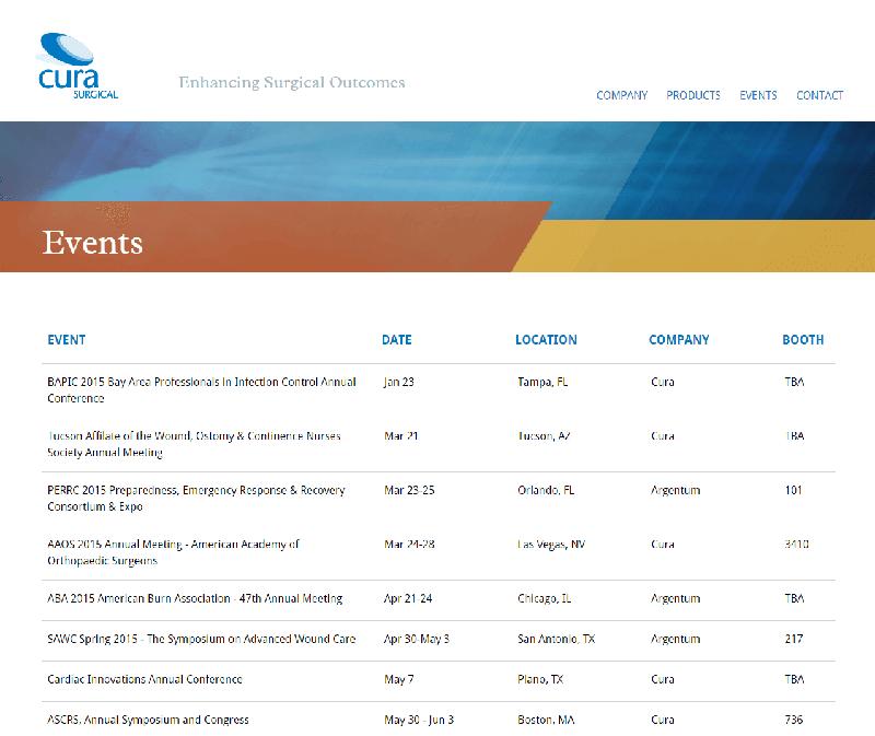 Screenshot of Cura Events Screen